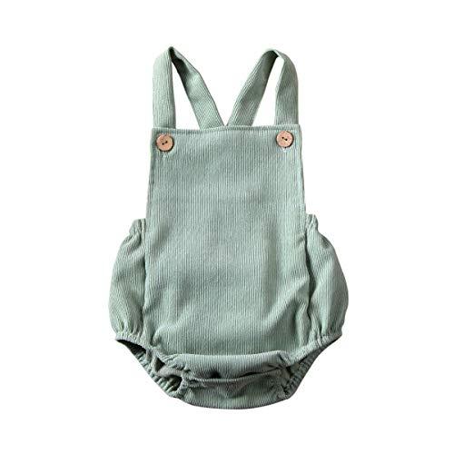 Kuriozud Infant Baby Boy Girl Corduroy Romper Plain Bodysuit Crossback...