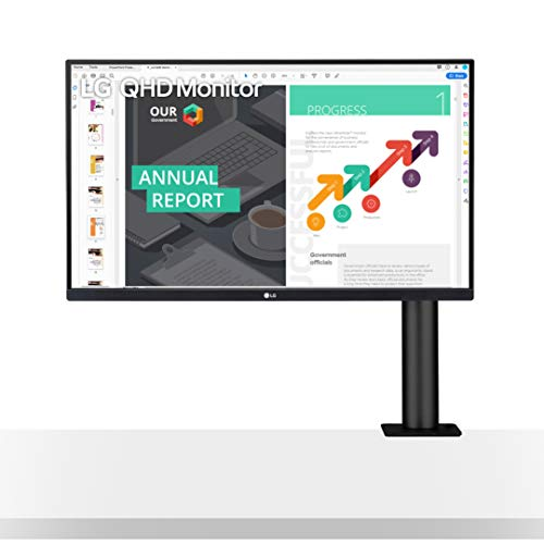 LG 27QN880-B 27' QHD (2560x1440) Ergo IPS Monitor with HDR 10 Compatibility and USB Type-C Connectivity, Black