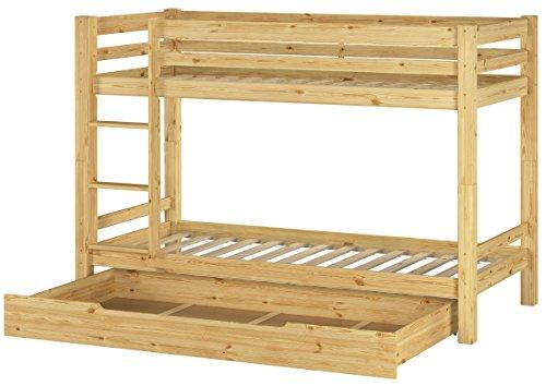 Erst-Holz Letto a Castello 90x200 per Bambini divisibile con doghe rigide e cassettone 60.09-09S1