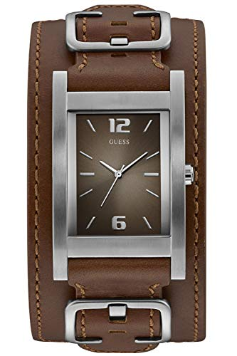 Guess Herren Analog Quarz Uhr mit Leder Armband 8431242948546