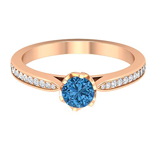 5 MM Lab Created Arctic Blue Sapphire Ring, HI-SI Diamond Accent Engagement Ring, Solitaire Ring with Side Stones (AAAA Quality), 18K Rose Gold, Size:UK O