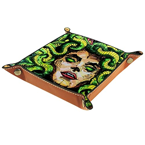 FCZ Abstarct Medusa - Bandeja para guardar carpetas (cuero, 20 x 20 cm), color verde
