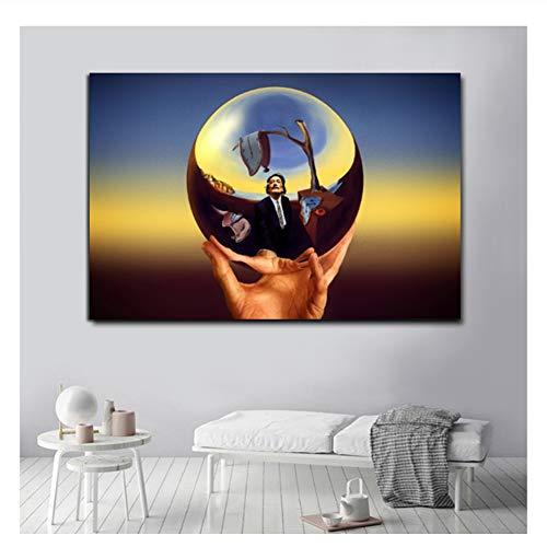 Suuyar Abstrakte Malerei Magic Ball Von Salvador Dali Kunst Leinwand Malerei Poster und Drucke Wandbilder Für Wohnzimmer Wohnkultur-60x90 cm Kein Rahmen