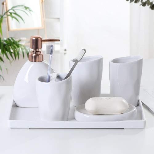 ZHQHYQHHX - Set di accessori per il bagno, include portasapone, portaspazzolino, portasapone, portasapone, set di accessori da bagno (colore: bianco, dimensioni: libero)