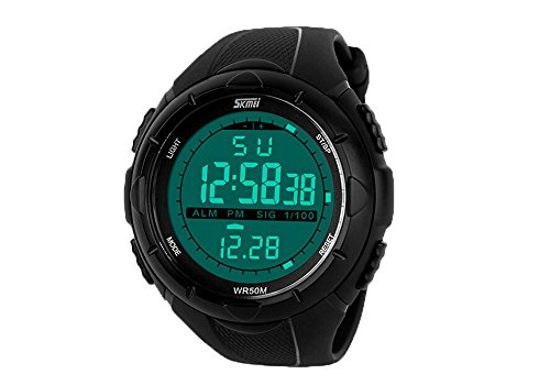 Carrie Hughes Men's Digital Sports Watch Waterproof LED Screen Large Face Military Luminous Stopwatch Alarm Army Outdoor Watch Black CH123 (SK1025B)