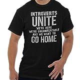 Brisco Brands Introverts Unite Here Uncomfortable Unisex T Shirt Black
