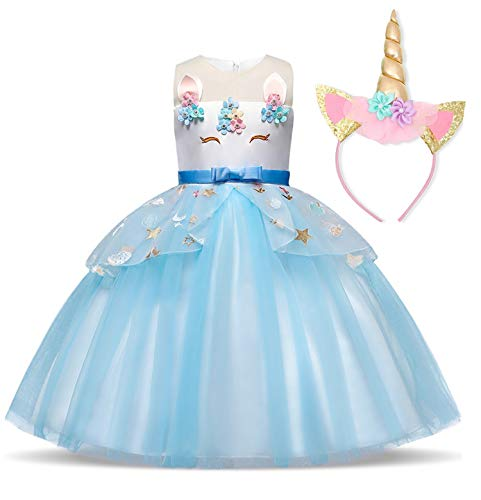 TTYAOVO Chicas Arco Iris Unicornio Fancy Vestido Princesa Flor Desfile de Niños Vestidos sin Mangas Volantes Vestido de Fiesta Talla(110) 3-4 años 438 Azul