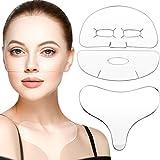Set de 3 Almohadillas Faciales de Pecho, Almohadilla de Silicona de Pecho con 2 Parches Faciales de Silicona Reutilizable para Ojos Boca Mejilla Sonrisa Líneas Finas y Pecho, Suaviza Piel