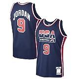 BFDE Michael Basketball Jersey Jordan Sudadera USA Mesh Basketball Ropa Home #9 Dream Team Jersey Navy - Icon Edition-XL