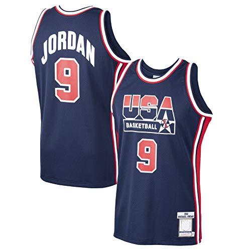 Michael Basketball Jersey Jordan Traning Jersey USA Deportes de baloncesto al aire libre Casa #9 Dream Team Jersey Navy - Edición Icono, azul marino, M