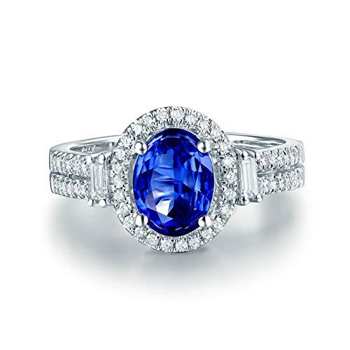 Beydodo Anillo Mujer Boda,Anillos de Mujer de Oro Blanco 18K Plata Azul Oval Tanzanita Azul 3ct Diamante 0.32ct Talla 8(Circuferencia 48MM)