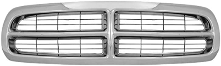 CarPartsDepot, Front Grille Chrome Frame Black Bar Insert Grill Assembly Replacement, 400-17617 CH1200199 55056092