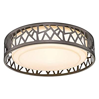 Flush Mount Ceiling Light, VICNIE 12 inch 15W LED Dimmable Lighting Fixture, 3000K Warm White, Oil Rubbed Bronze Fihished, ETL Listed for Kitchen, Hallway, Bedrooms (Metal Body and Acrylic Shade)