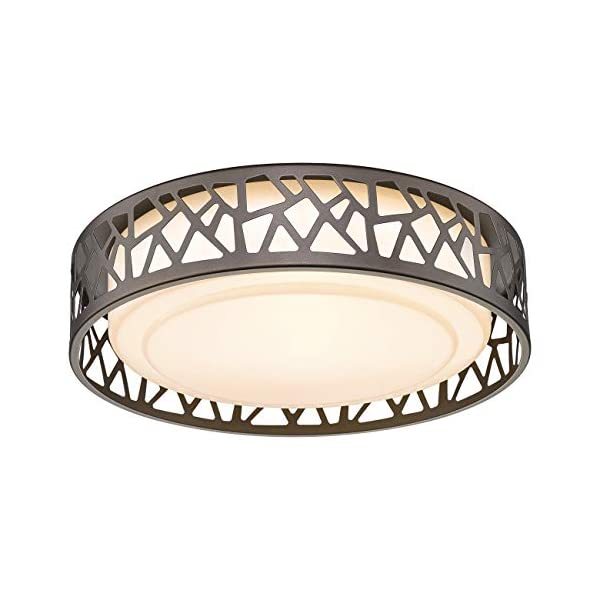 Flush Mount Ceiling Light, VICNIE 12 inch 15W LED Dimmable Lighting Fixture, 3000K Warm White, Oil Rubbed Bronze…