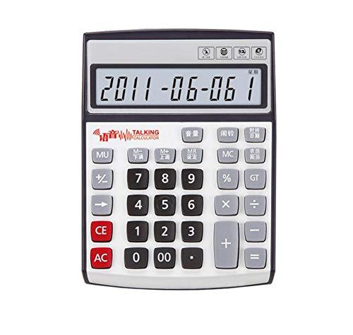 Taschenrechner Voice-Tischrechner 12-Stelliges Display Mit Akku Ewige Kalenderanzeige Echte Menschliche Aussprache Finanzielles Special