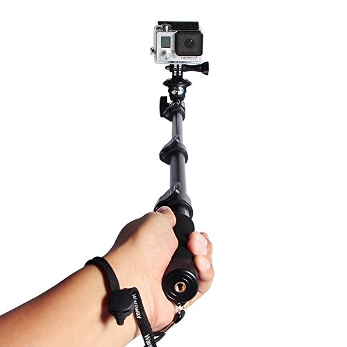 Handheld telescopico monopiede selfie Stick con telecomando Bluetooth Camera Extender Palo con Tripod Mount per Gopro Hero 1 2 3 3+4 Camera and Adjustable Phone Holder for iPhone 6 Plus 6S 6 5S, Samsung Galaxy Note 5 S6 Edge S6 S5 S4