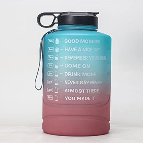 Mosako - Botella de agua con marcador de tiempo y pajita grande con asa sin BPA, 2,2 L (D)