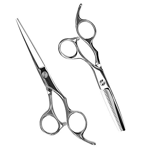 "ORDORA Hair Cutting Scissors with Hair Thinning Shears, 6.5"" Professional Barber Scissors for Hair Cutting & Dressing, Japanese 440C Sharp Salon Razor Edge Scissor for Women, Men, Adults and Kids"