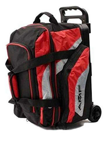 AMF 2 Ball Double Roller Bowling Bag Black/Red Holds Bowling Shoes