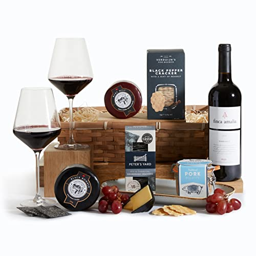 Wine, Cheese and Pate Hamper - Award Winning Cheese, Rioja Red Wine and Artisan Pate Hamper - Gourmet Hampers & Food Gift Baskets Collection - Free UK Delivery