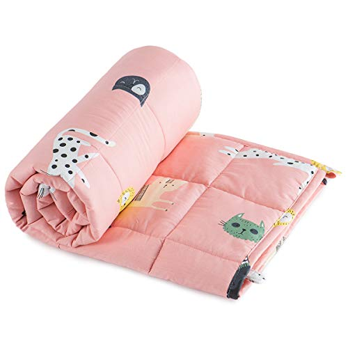 Sivio Weighted Blanket for Kids 36x48 Inches (100% Breathable Natural Cotton, 5 lbs Heavy Blanket),...