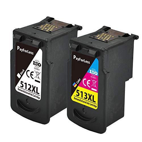 PayForLess Cartridge PG-512 CL-513 Cartuchos de Tinta Compatibles para Canon PG-512 CL-513...