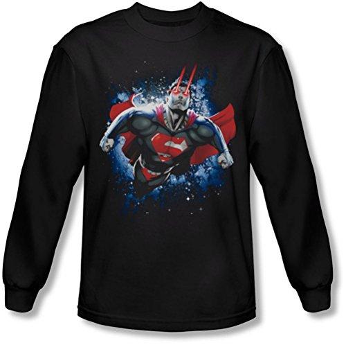 Superman - - Stardust manches longues T-shirt pour hommes, Large, Black