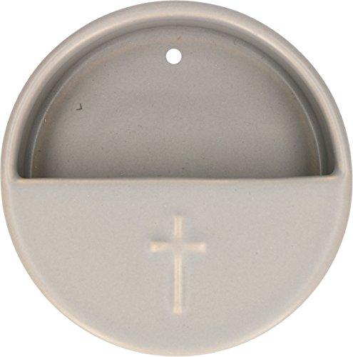 Butzon und Bercker Weihwasserkessel Kreuz hellgrau Keramik Ø 10 cm Weihbecken für Zuhause