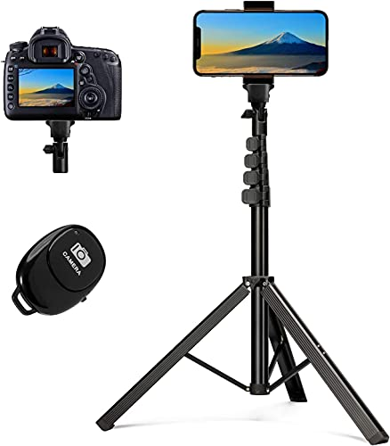 PEKHUKY 自撮り棒2021最新・一本三役カメラ 三脚 gopro 三脚 リモコン&スマホホルダー付き 4段階伸縮 安定感&美感抜群 ビデオカメラ 一眼レフカメラ 撮影スタンド ライトスタンド iPhone Android スマホ カメラ LEDリングライト · ビデオライト対応