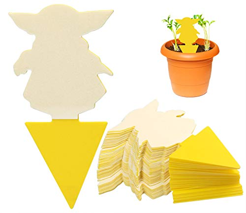50-Pack Dual-Sided Yellow Sticky Traps, Yoda Shaped Fruit Fly and Fungus Gnat Traps for Indoor and Outdoor Use - Insect Catcher for Fruit Flies, White Flies, Mosquitos and Flying Plant Insects