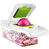 ADOV Mandolin Slicer, 12 in 1 Multi-Function Kitchen Veg Cutter, 7 Replaceable Stainless Steel Food Chopper with Egg Separator, Hand Guard Perfect for Waffle Julienne Cutting Fruits Vegetables - Lime