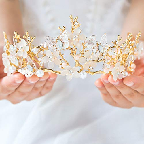 Jakawin Bridal Wedding Queen Crowns and Tiaras Flower Baroque Crown for Women and Girls C007