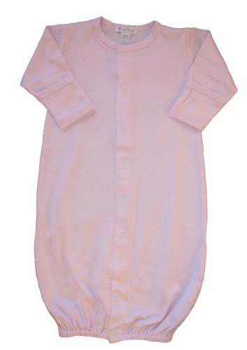 Kissy Kissy Baby Dots Convertible Gown-Pink with White Dots-Small