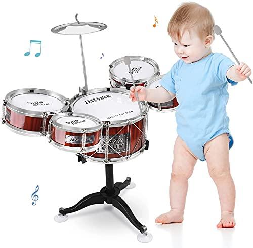 Kinderschlagzeug Drumset Spielzeug 8 Stück Jazz Schlagzeug Musikinstrument mit 5 Trommeln und 1 Becken & 2 Drumsticks,Mini Band Rock Set Kindergeburtstag Geschenk für Kinder ab 3 Jahre