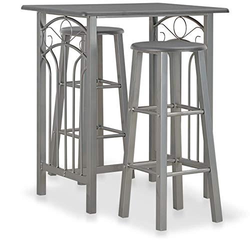 3 Piezas de Barra de Barras y taburetes Conjunto de Cocina de Madera para 2 Personas Desayuno Mesa de Comedor pequeño (Color : Dark Gray)