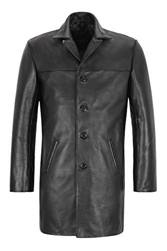 Smart Range Leather Reefer Chaqueta de Cuero para Hombre Negro Real Hide Estilo Militar Abrigo Largo Blazer 3476