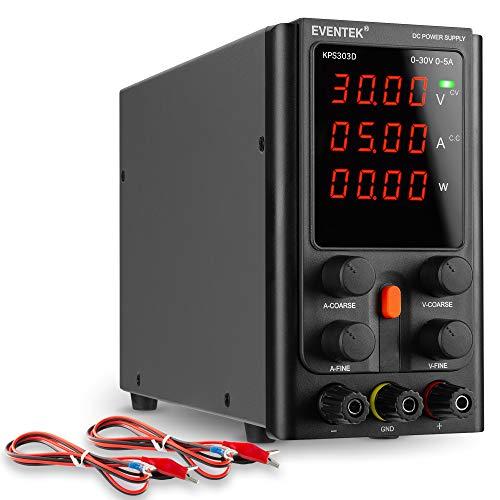 Labornetzgerät 30V 5A, Regelbar, eventek Labornetzgerät DC mit 4 stelliger LED Anzeige, Krokodilkabel/Prüfleitungen