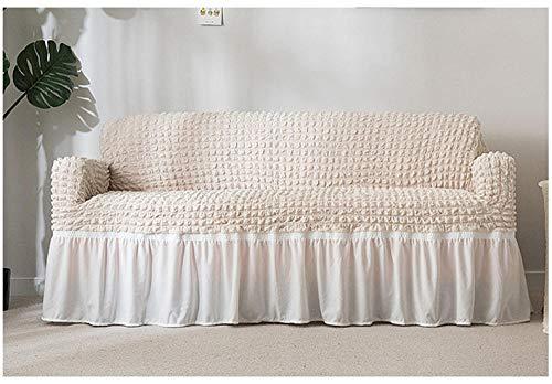 Allenger Funda de Sofá,Funda de sofá Gruesa de Color sólido, Funda de sofá de Falda Completa, Funda de cojín Antideslizante de Alta Elasticidad-Beige_120-170cm