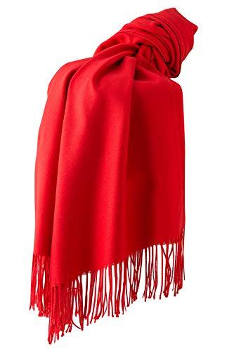 Dolamen Unisex Damen Herren Schal Schlauchschal mit Fransen, Winter Feinstrick Halstücher Stolen Umschlagtücher Schal, Warmes Halstuch für Business (78.74 * 27.56 zoll (200cm*70cm), Rot)
