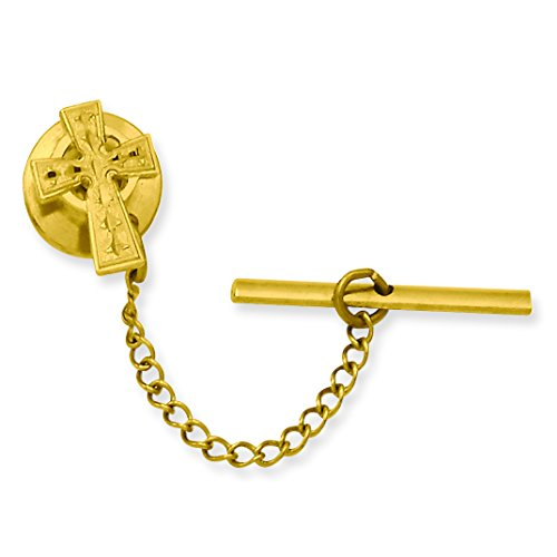 Jewelry Pot Stainless Steel 14K Gold Plated Celtic Cross Tie Tack