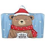 Manta con capucha para llevar de Navidad, lindo oso de invierno, manta suave de forro polar de coral, poncho cálido y acogedor, manta para niños, adultos, regalo de 39 x 51 pulgadas
