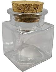 48x Barattoli bomboniera confettata in vetro quadro quadrato con sughero 4cm