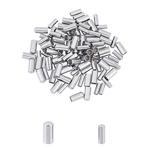 UNICRAFTALE 100 Uds 2 tamaños Extremos de Cable de Columna Tapas de Extremo de Acero Inoxidable 2mm/3mm terminadores de Cable de Cuero de Columna Tapas de Extremo Color Metal