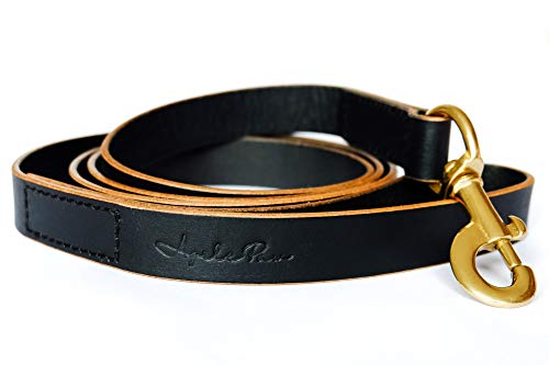 Leather Dog Leash with Soft Handle - Heavy Duty 6ft Long Leash - Walking, Training and Tactical use - for Small Dogs, Medium Dogs and Large Dogs - All Breeds - Strong Brass Clip - Double Stitching