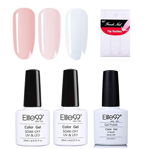 Elite99 French Nägel Design Nagellack, Weiß und Rosa Gellack, Frenchnägel Maniküre, UV Gel Nail Polish 10ml und French Tip Guide Nagellack UV Set 002
