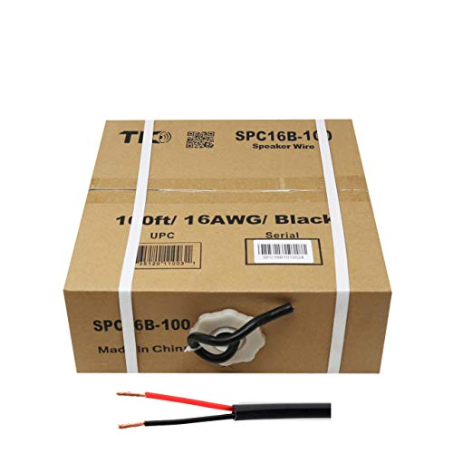 TIC SPC16B-100 16 AWG Outdoor Speaker 100 Feet Wire Rated for Outdoor Direct Burial and in-Wall Installation Speaker Cable Oxygen Free Copper UL CL3