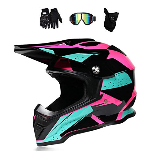 NNYY Motocross Helm Damen Pink Schwarz Mit Brille/Handschuhe/Maske, Motorrad Crosshelm Adult Fullface-Helm Motorradhelm Enduro MTB Off Road Downhill Mountainbike BMX Bike ATV Cross-Country,L