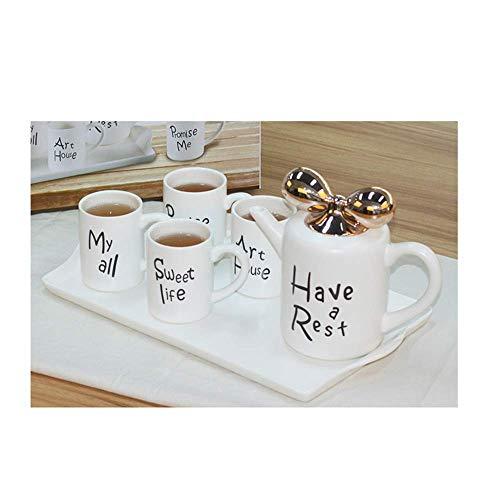 WMYATING Juego de té Juego de té Lanzamiento de un Nuevo pr 6pcs Café romántico y Servicio de té con Taza de café, Tetera y Bandeja de Porcelana, té de cerámica Europea Azul (Color : White)