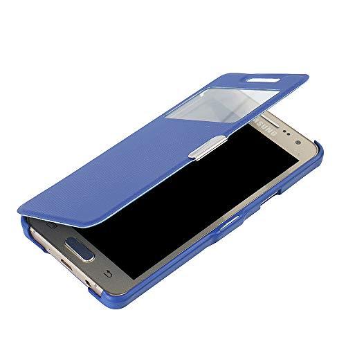 MTRONX para Funda Samsung Galaxy A3 (2015), Cover Carcasa Caso Ventana Vista Folio Flip Tela Asargada PU Cuero Delgado Piel con Cierre Magnetico para Samsung Galaxy A3 (2015) - Azul(MG1-BU)