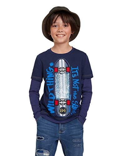 Desigual Jungen T-Shirt OMAR Langarmshirt, Blau (Navy 5000), 140 (Herstellergröße: 9/10)